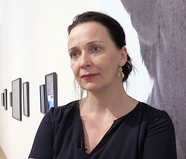 Ania Dabrowski talking to Studio International about her installation A Lebanese Archive at the opening of the group show From Ear to Ear to Eye at Nottingham Contemporary, 15 December 2017. Photograph: Martin Kennedy.