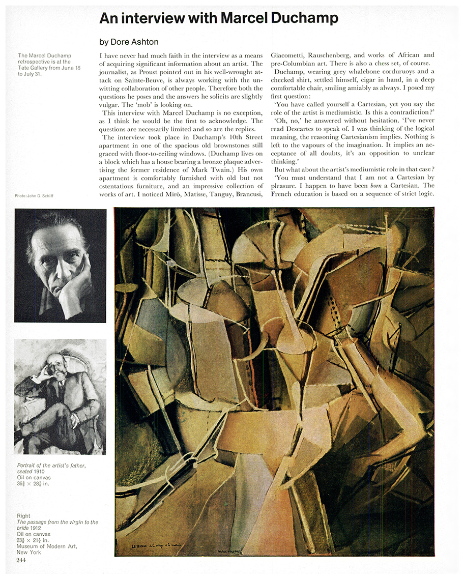 An interview with Marcel Duchamp by Dore Ashton. First published in Studio International, Vol 171, No 878, June 1966, page 244.