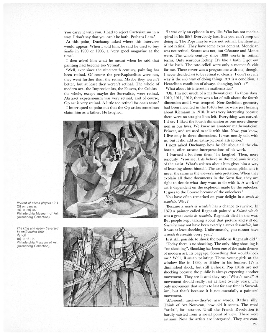 An interview with Marcel Duchamp by Dore Ashton. First published in Studio International, Vol 171, No 878, June 1966, page 245.