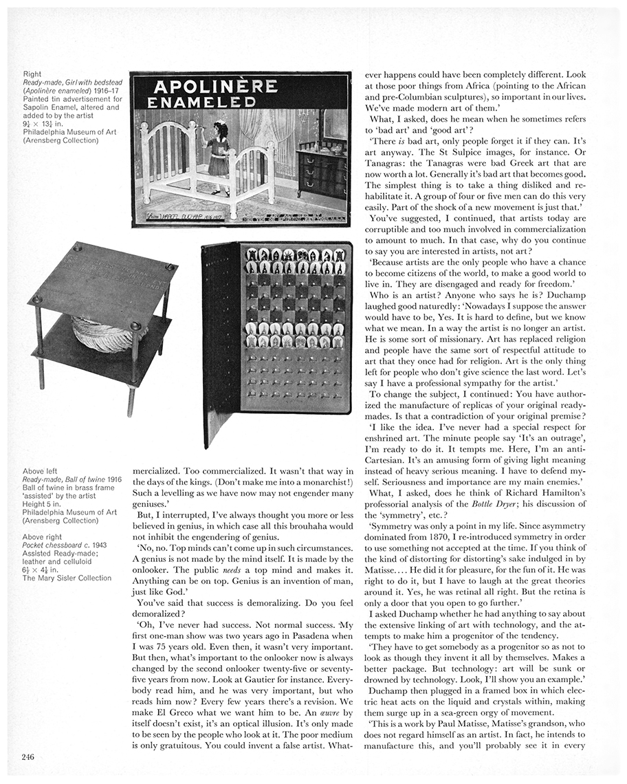 An interview with Marcel Duchamp by Dore Ashton. First published in Studio International, Vol 171, No 878, June 1966, page 246.