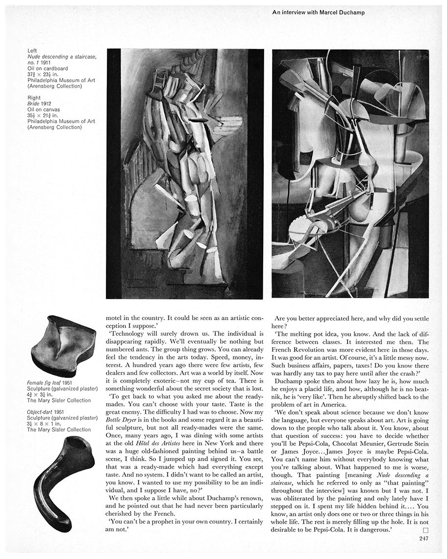 An interview with Marcel Duchamp by Dore Ashton. First published in Studio International, Vol 171, No 878, June 1966, page 247.