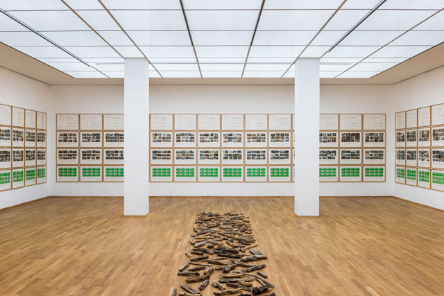 Installation view, Hanne Darboven, Menshen und Landschaften, 1985. Pencil and felt pen on cardboard, historical postcards and Ubiquist cards, 169 parts, each 50 x 70cm. Staatliche Museum zu Berlin, Nationalgalerie. Copyright: Hanne Darboven Foundation. Photograph: Jan Windszus.