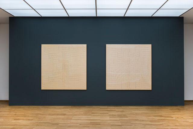 Installation view, Hanne Darboven, Konstruktion, 1966-67. Pencil and coloured pencil on graph paper, each 179.5 x 180.5cm. Staatliche Museum zu Berlin, Nationalgalerie. Copyright: Hanne Darboven Foundation. Photograph: Jan Windszus.