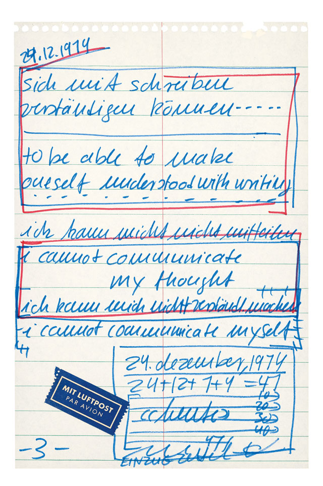 Hanne Darboven. In-House Letter to Mother at Burgberg, 24.12.1974. Copyright: Hanne Darboven Foundation. Courtesy Christians Verlag, Hamburg.