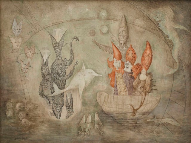 Leonora Carrington. [Title unknown], 1963. Oil and gouache on board, 60 x 71 cm (23 5/8 x 2715/16 in). © Estate of Leonora Carrington. Courtesy Private Collection, London.