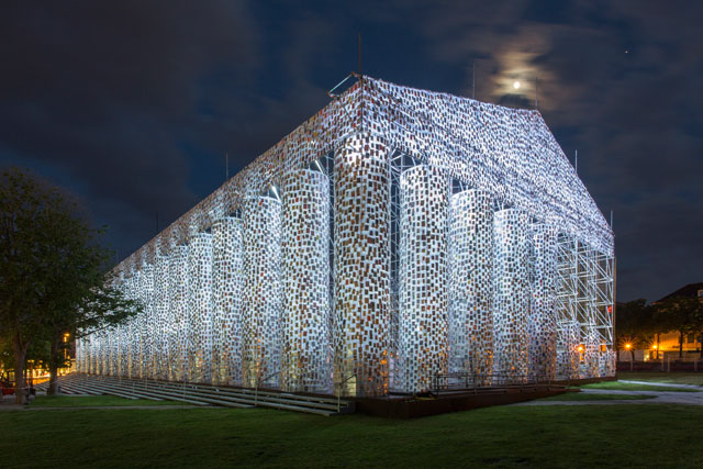 Marta Minujín. The Parthenon of Books, 2017. Steel, books and plastic sheeting, Friedrichsplatz, Kassel, documenta 14. Photograph: Roman März.