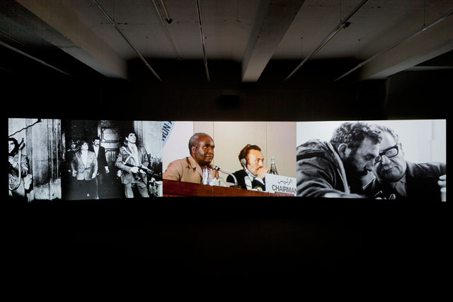 Naeem Mohaiemen. Two Meetings and a Funeral, 2017. Three-channel digital video installation, Hessisches Landesmuseum, Kassel, documenta 14. Photograph: Michael Nast.