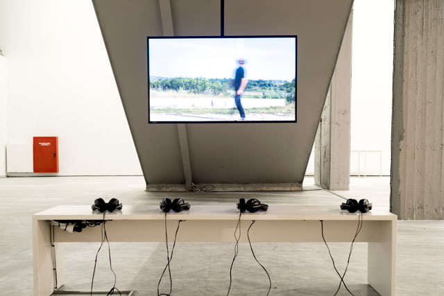 Hiwa K. Pre-Image (Blind as the Mother Tongue), 2017. Digital video, installation view, Athens Conservatoire (Odeion), documenta 14. Photograph: Mathias Völzke.