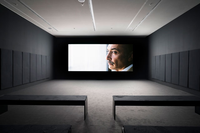 Naeem Mohaiemen. Tripoli Cancelled, 2017. Digital video, installation view, EMST—National Museum of Contemporary Art, Athens, documenta 14. Photograph: Mathias Völzke.