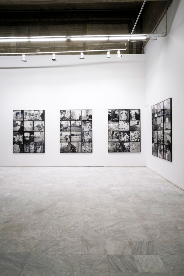 Akinbode Akinbiyi. Passageways, Involuntary Narratives, and the Sound of Crowded Spaces, 2015–17. 48 black-and-white inkjet prints, installation view, Athens Conservatoire (Odeion), Athens, documenta 14. Photograph: Mathias Völzke.