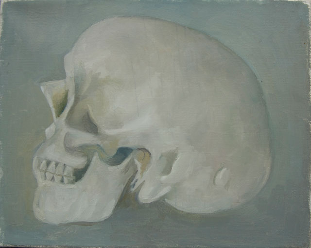 Peter Dreher. Skull, 2016. Oil on canvas, 20 x 25 cm.
