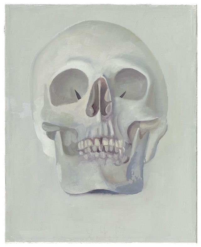 Peter Dreher. Skull, 2015. Oil on canvas, 25 x 20 cm.