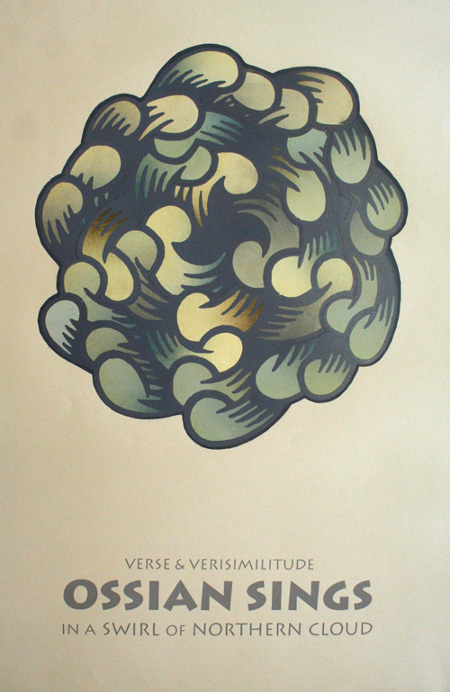 Arthur Watson. Verse & verisimilitude: Ossian sings, 2002. Woodcut with silkscreened printed text.