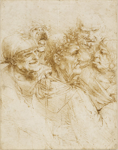 Leonardo da Vinci (1452-1519).<em> Five character studies (A man tricked by gypsies</em>), about 1493. Pen and ink on paper, 26 x 20.5 cm. Lent by Her Majesty The Queen (RL 12495). The Royal Collection. © 2011, Her Majesty Queen Elizabeth II.