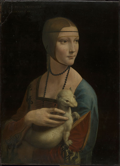 Leonardo da Vinci (1452–1519).<em> Portrait of Cecilia Gallerani (The Lady with an Ermine)</em>, about 1489–90. Oil on walnut, 54.8 x 40.3 cm. Property of the Czartoryski Foundation in Cracow on deposit at the National Museum in Cracow. © Princes Czartoryski Foundation.