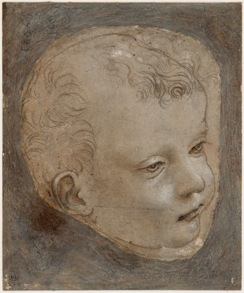Leonardo da Vinci (1452–1519).<em> Cartoon for the head of the infant Saint John the Baptist</em>, about 1482–3. Metalpoint with traces of pen and ink and wash heightened with white on prepared paper, pricked for transfer, 13.4 x 11.9 cm (irregularly cut) mounted on paper, 16.9 x 14 cm. Musée du Louvre, Paris, Département des Arts Graphiques (2347). © RMN / Michèle Bellot.