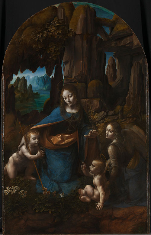 Leonardo da Vinci (1452–1519).<em> The Virgin of the Rocks</em>, about 1491/2-99 and 1506-8. Oil on poplar, thinned and cradled, 189.5 x 120 cm. © The National Gallery, London (NG 1093).