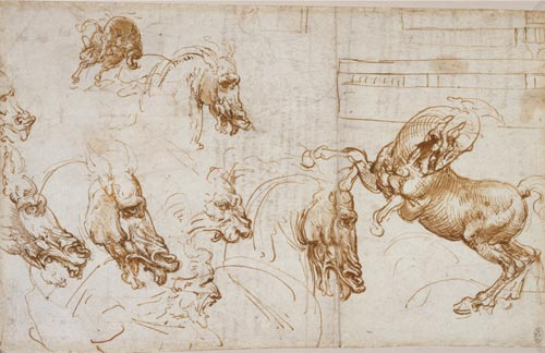 Leonardo da Vinci. Horses in action, with studies of expression horses, lion and man, and an architectural groundplan, c.1505. 19.6 x 30.8 cm. Pen and ink. Royal Collection © 2006 Her Majesty Queen Elizabeth II.