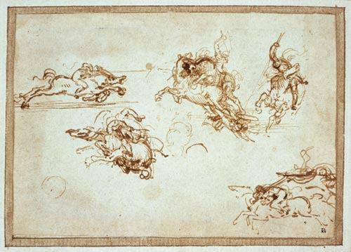 Leonardo da Vinci. Studies of horses and horsemen for the Battle of Anghiari, c.1503. 8.3 x 12 cm. Pen and Ink. The British Museum, London
