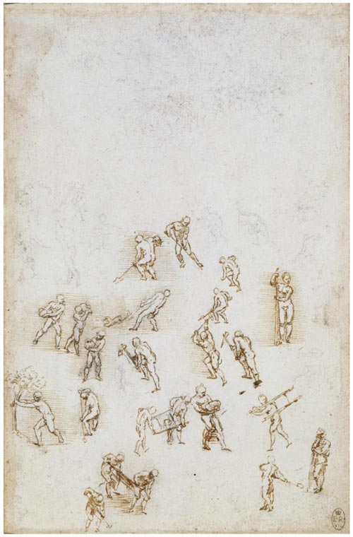 Leonardo da Vinci. Men at work, digging, carrying, pulling etc, c.1509. 20.1 x 13 cm. Black chalk with some pen. Royal Collection © 2006 Her Majesty Queen Elizabeth II.