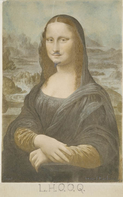 Marcel Duchamp, American, born France 1887-1968. <em>L.H.O.O.Q</em>, 1919. Rectified readymade: pencil on reproduction of Da Vinci's Mona Lisa  19.7 x 12.4 cm. Private collection  &copy; 2006 Marcel Duchamp/Artists Rights Society (ARS), New York/ADAGP, Paris/Succession Marcel Duchamp.