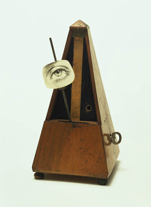 Man Ray (Emmanuel Radnitzky), American, 1890-1976. <em>Indestructible Object (or Object to Be Destroyed)</em>, 1964 (replica of 1923 original). Metronome with cutout photograph of eye on pendulum, 22.5 x 11.6 cm. Museum of Modern Art, New York. James Thrall Soby Fund, 1966  © 2006 Man Ray Trust/Artists Rights Society (ARS), New York.