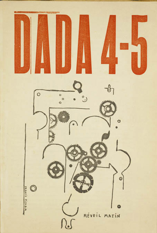 Francis Picabia, French, 1879-1953. <em>Alarm Clock I (R&eacute;veil matin I)</em>, illustration on the title page of the journal Dada, no. 4-5: Dada Anthology (Anthologie Dada), Tristan Tzara, editor, Mouvement Dada, May 1919. Line block reproduction of ink drawing, 27.4 x 18.5 cm. National Gallery of Art, Library, Gift of Thomas G. Klarner  &copy; 2006 Board of Trustees, National Gallery of Art, Washington. Photo: Lorene Emerson  &copy; 2006 Francis Picabia/Artists Rights Society (ARS), New York/ADAGP, Paris.