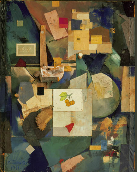 Kurt Schwitters, German, 1887-1948. <em>Merz Pictures 32 A. The Cherry Picture</em> 1921. Cut-and-pasted colored and printed papers, cloth, wood, metal, cork, oil, pencil and ink on board, 91.8 x 70.5 cm. The Museum of Modern Art, New York. Mr and Mrs A Atwater Kent, Jr. Fund, 1954  &copy; 2006 Kurt Schwitters/Artists Rights Society (ARS), New York/VG Bild-Kunst, Bonn.