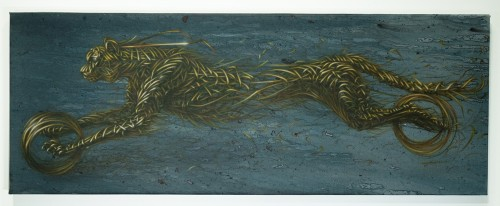 DALeast. XIV. Acrylic on canvas, 18 x 47.75 in (45.72 x 121.29 cm). Courtesy of the artist and the Jonathan Levine Gallery.