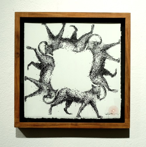 DALeast. Untitled 19. Ink on paper, 11 x 11 in (27.94 x 27.94 cm). Courtesy of the artist and the Jonathan Levine Gallery.
