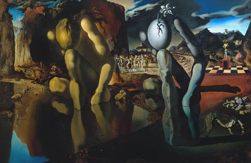 Salvador Dal&iacute;. <em>Metamorphosis of Narcissus</em>, 1937. Oil on canvas, 511 x 781 mm. The Tate Collection &atilde; Salvador Dal&iacute;. Fundaci&oacute; Gala-Salvador Dali, DACS, 2007