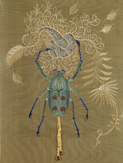 Angelo Filomeno.      <em>Arcanum: Rolling Shit,</em> 2006. Embroidery on silk lamé over linen with crystals, citrines, and diamonds in 18-karat gold settings, 21 x 16 in. Private collection.
