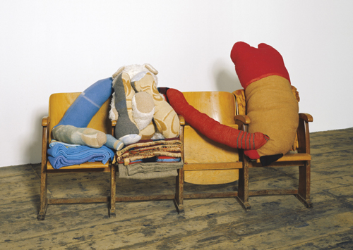 Berlinde De Bruyckere.<em> Untitled,</em> 2003. Wooden cinema seats, fabric collage, and woolen blankets, 79 1/2 x 46 x 26 in. Heather and Tony Podesta Collection, Washington, D.C.