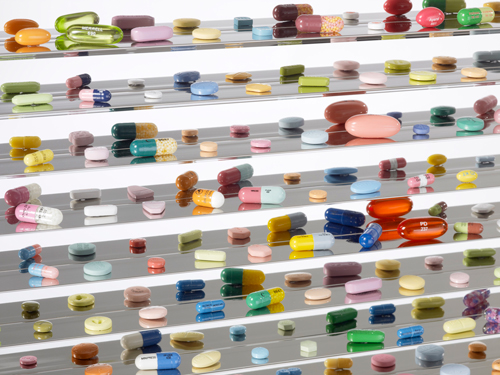 Damien Hirst. <em>Lullaby, the Seasons,</em> 2002 (detail). Glass, stainless steel, steel, aluminium, nickel, bismuth and cast resin, coloured plaster and painted pills with dry transfers. © Damien Hirst and Science Ltd. All rights reserved. DACS 2012. Photograph: Prudence Cuming Associates.