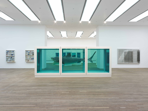 Damien Hirst. <em>The Physical Impossibility of Death in the Mind of Someone Living,</em> 1991 (installation view). Glass, painted steel, silicone, monofilament, shark and formaldehyde solution. © Damien Hirst and Science Ltd. All rights reserved. DACS 2012. Photograph: Prudence Cuming Associates.