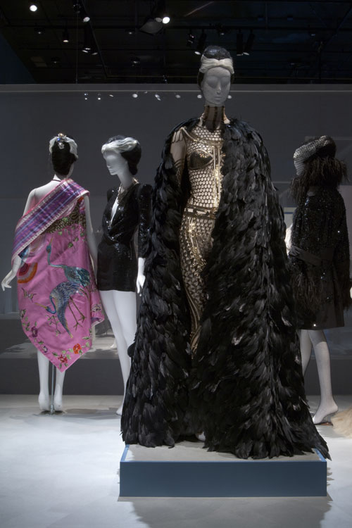 Ensembles from the SPARKLE section of the exhibition <em>Daphne Guinness</em> at The Museum at FIT. Photograph courtesy The Museum at FIT.