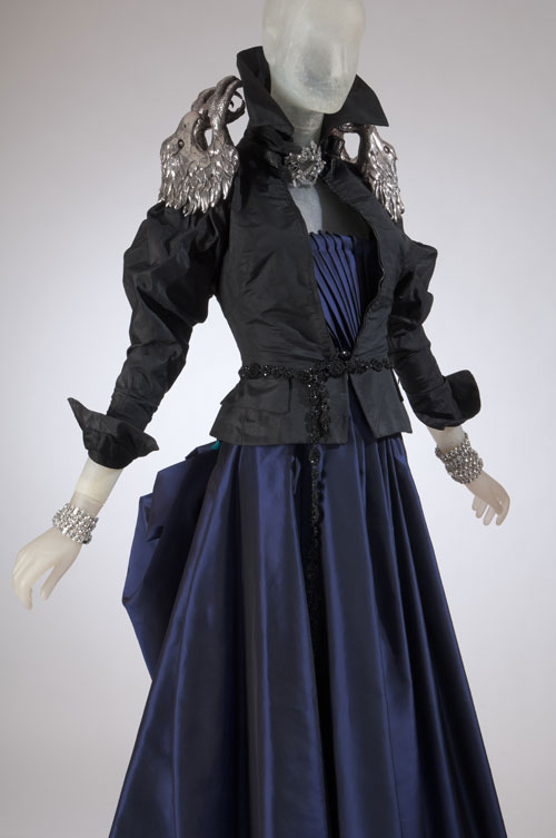 Dress by Christian Lacroix, jacket by Alexander McQueen. From the collection of Daphne Guinness, to be featured in the exhibition <em>Daphne Guinness</em>. Photograph courtesy The Museum at FIT.