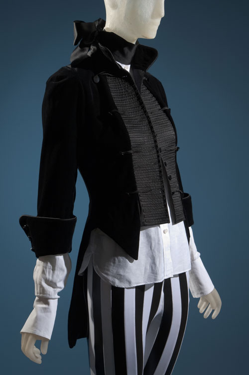Ensemble: Shirt and jacket by Daphne Guinness; pants from London punk shop. From the collection of Daphne Guinness, to be featured in the exhibition <em>Daphne Guinness</em>. Photograph courtesy The Museum at FIT.
