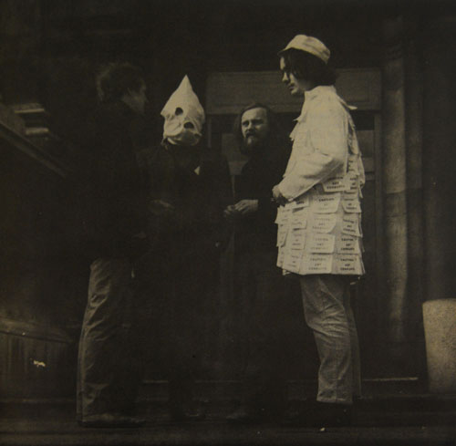 Felipe Ehrenberg. A Date with Fate at The Tate, 1970. From left to right: artists Stuart Brisley, Felipe Ehrenberg, gallerist Sigi Krauss and artist John Plant. Courtesy of the Artist and Baro Gallery, Sao Paulo. Photograph: Philippe Mora. Audio Recording 14 min 37 sec.