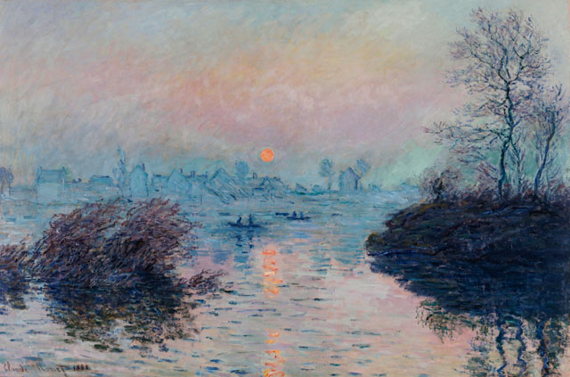 Claude Monet. Sunset on the River Seine at Lavacourt, Winter Effect, 1880. Oil on canvas, 100 x 150 cm. Petit Palais, Paris, © Petit Palais/Roger-Viollet.