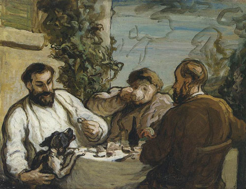 Honoré Daumier. Lunch in the Country, c.1867-8. Oil on panel, 26 x 34 cm. National Museum of Wales, Cardiff. Photograph © National Museum of Wales.