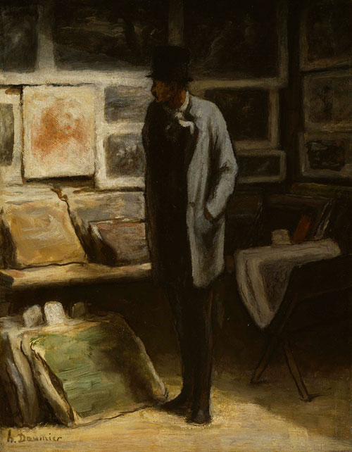 Honoré Daumier. The Print Collector, c.1857-63. Oil on cradled panel, 42.3 x 33 cm. The Art Institute, Chicago.