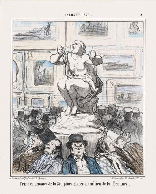 Honoré Daumier. Salon de 1857 ... Triste Contenance de la Sculpture, 22 July 1857. Lithograph, second state, album impression, hand-coloured, 33 x 24.5 cm. Museum of Fine Arts, Boston. Bequest of William Perkins Babcock.
