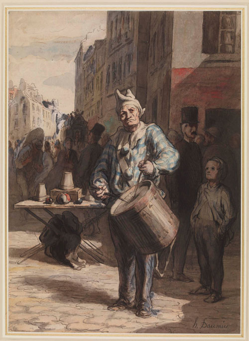 Honoré Daumier. Clown Playing a Drum, c.1865-7. Pen and black and grey ink, grey wash, watercolour, touches of gouache, 35.4 x 25.6 cm. The British Museum, London. Photograph © The Trustees of the British Museum.