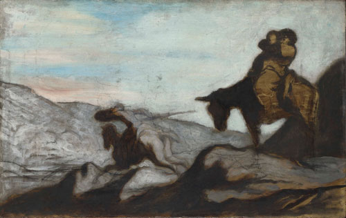 Honoré Daumier. Don Quixote and Sancho Panza, c.1855. Oil on oak, 40.3 x 64.1 cm. The National Gallery, London. Sir Hugh Lane Bequest, 1917.