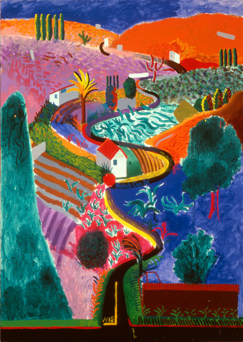 David Hockney. <em>Nichols Canyon</em>, 1980. Acrylic on canvas, 213.4 x 152.4 cm. Private collection. Copyright David Hockney.