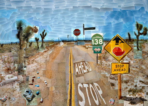David Hockney. <em>Pearblossom Highway, 11-18 April 1986 #1</em>. Photographic collage, 119.4 x 163.8 cm. The J. Paul Getty Museum, Los Angeles. Gift of David Hockney. Copyright David Hockney.