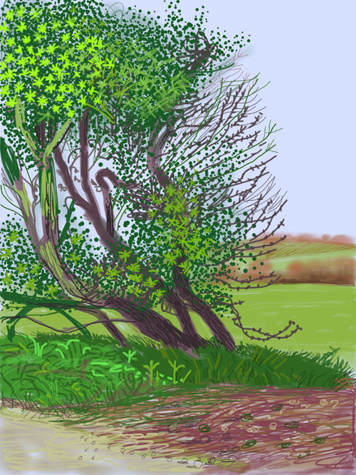 David Hockney. <em>The Arrival of Spring in Woldgate, East Yorkshire in 2011 (twenty eleven) - 12 April.</em> iPad drawing printed on paper, 144.1 x 108 cm; one of a 52-part work. Courtesy of the artist. Copyright David Hockney.