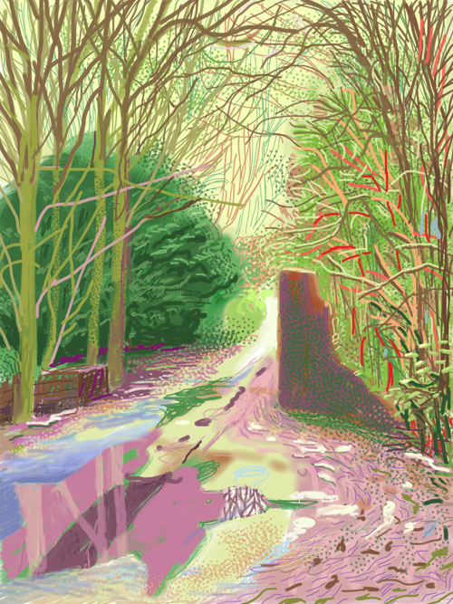 David Hockney. <em>The Arrival of Spring in Woldgate, East Yorkshire in 2011 (twenty eleven) - 2 January.</em> iPad drawing printed on paper, 144.1 x 108 cm; one of a 52-part work. Courtesy of the artist. Copyright David Hockney.
