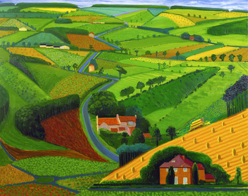 David Hockney. <em>The Road Across the Wolds</em>, 1997. Oil on canvas, 121 x 152 cm. Private Collection, Copyright David Hockney. Photograph: Steve Oliver.